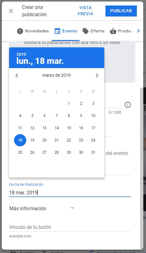 Eventos en Google My Business