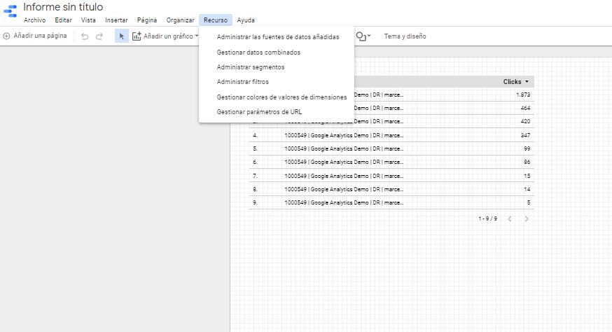 añadir herramientas google data studio