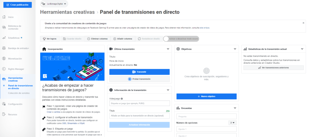 Facebook- Creator Studio 3